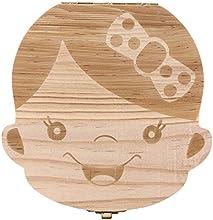 Longra Diente organizador de la caja de caja de almacenamiento de los dientes de leche del bebé Guardar madera para los niños muchacho y muchacha