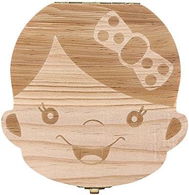 Ularma Caja de almacenaje de madera guardar los dientes de leche para niños chica