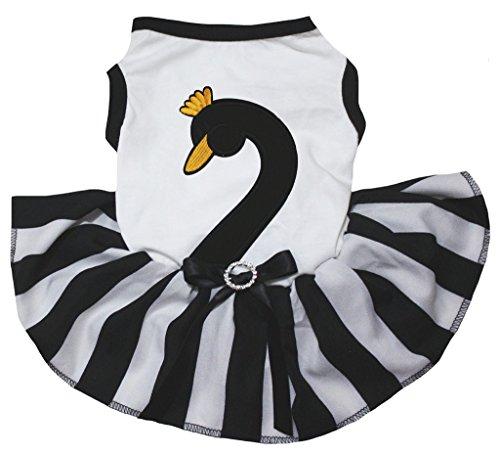 petitebelle Puppy Kleidung Hund Kleid Black Swan weiß TOP Schwarz Weiß Tutu (Swan Halloween Kostüme)