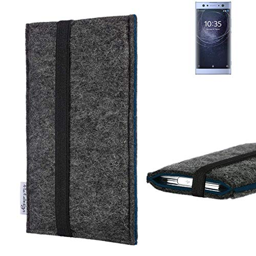 flat.design Handyhülle Lagoa für Sony Xperia XA2 Ultra Dual-SIM | Farbe: anthrazit/blau | Smartphone-Tasche aus Filz | Handy Schutzhülle| Handytasche Made in Germany