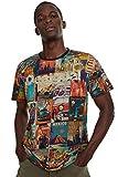 Desigual Erenesto T-Shirt pour Homme Motif Cartes Postales - Multicolore - Taille M