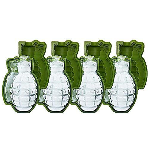 (Skitic 3D-Eiswürfelform in Handgranatenform, 4 Stück Lebensmittelsorte Silikon-eisform, Perfekte für Männer)