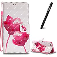 iPhone 6 Plus Case, iPhone 6 Plus Leather Case Wallet, Slynmax 3D Printing Red Rose Design Flip Folio PU Leather Wallet Case Inner Soft TPU Cover with Stand Function Hand Strap Card Holders Magnetic Closure Book Style Shock Resistant Protective Case for i