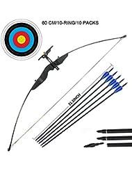 Outdoor-shooter Set di Arco e frecce da tiro con Arco e Arco per la Caccia all'aperto con mirino Regolabile (40 LB, 5 × frecce, 6 × volti Target)