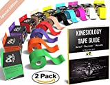 Kinesiology Tape - Pain Relief Adhesive - Best Therapeutic Muscle Support Aid -FREE 82pg EBOOK Taping Guide- Sports Wrap for Plantar Fasciitis Shin Splints Knee Elbow Wrist Back Shoulder Ankle & Neck