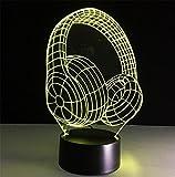 Tischleuchte Kopfhörer Schreibtischlampe 3d 7 Farben ändern Touch-Fernbedienung Tabellen-Schalter-LED-Licht-Nachtbeleuchtung Hauptdekoration Haushaltszubehör