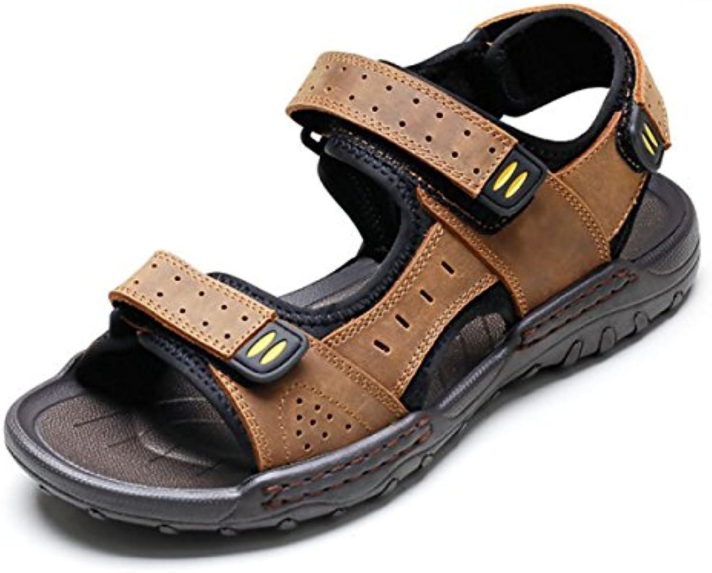 GRRONG Herren Hausschuhe Sommer Neue Sandalen Leder Lässige Toe Atmungsaktive Dick Soled Strandschuhe