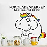 Bilderwelten Wandtattoo Pummeleinhorn Fokoladenkekfe?, Sticker Wandtattoos Wandsticker Wandbild, Größe: 100cm x 100cm