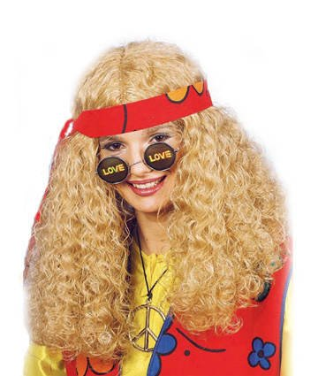 PARTY DISCOUNT ® Perücke Hippie, blond, lang gelockt