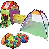 KIDUKU 3 en 1 Iglú infantil para juegos/Tienda de campaña para niños + Túnel de tela + 200 bolas + Bolsa para transportar – Uso interior y exterior