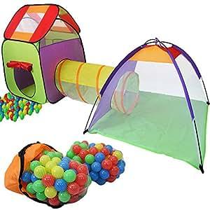 KIDUKU Tenda Igloo per bambini con tunnel + 200 palline + borsa per interni ed esterni - Tenda da gioco con palline per bambino