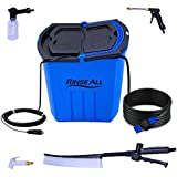 Rinse All EW10 -12V Powered Car Washer Kit - 7 Gallons Portable High Pressure Camping Shower - Car or Pet Washer with easy Twist On Off Flow Shower Head-12.5 ft Hose and Accessories