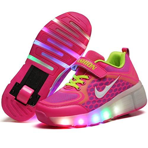 RECOLLECT Mädchen Junge LED Rollenschuhe mit Automatisch Verstellbares 1 Räder Skateboardschuhe Outdoor-Sportarten Gymnastik Blinken Turnschuhe,Pink,36EU Mädchen-skate-schuhe