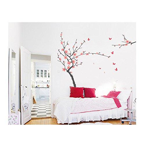 Vinilo decorativo para mural, con diseño de flores de cerezo japonés y mariposas, de Vaga