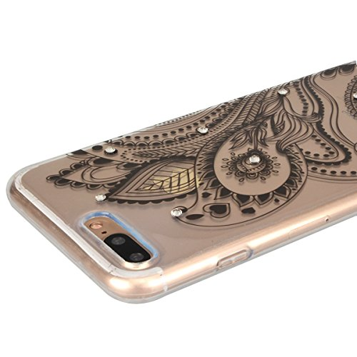 GrandEver Coque iPhone 7 Transparente Rigide Silicone Souple 3D Diamant Bling Glitter Doux avec Fleur Motif Design Case Cover Etui Housse pour iPhone 7 --- Blanc Mandala Fleur