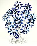 KD Nazar Bäumchen Blaues Auge Boncuk Daisy (Silber - Blau) / Glücksbringer/ca. 27 cm Hoch/Äste Flexibel Verstellbar/Stamm aus Kunststein