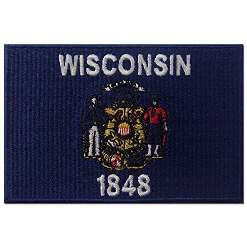 Wisconsin State Flagge gesticktes Abzeichen Eisen auf Sew auf Wi Patch - Wisconsin State Seal