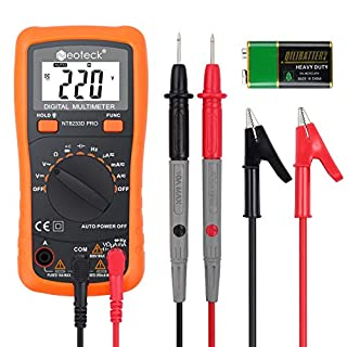 Neoteck Auto Ranging Digital Multimeter AC/DC Voltage Current Resistance Multi Testers Voltmeter Ammeter Ohmmeter Ampere Meters with Backlit LCD for School Laboratory Factory and other Social Fields