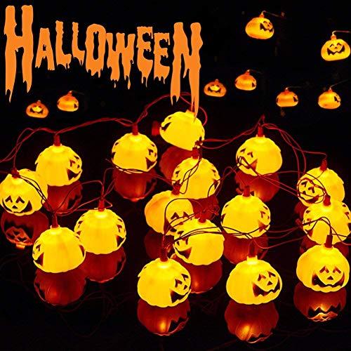 Keptei Halloween Dekoration LED Lichterkette LED Laternen Kürbis 2m 20er 3D Kürbis Lichter für Halloween Weihnachts Indoor&Outdoor