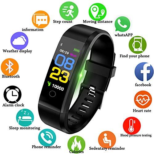 Fitness Trackers Pantalla táctil a color Rastreador de actividad con monitor de ritmo cardíaco Monitor de sueño Impermeable Deportes al aire libre Relojes de fitness Pulsera inteligente para iOS y Android Conexión Bluetooth Hombre mujer,niño