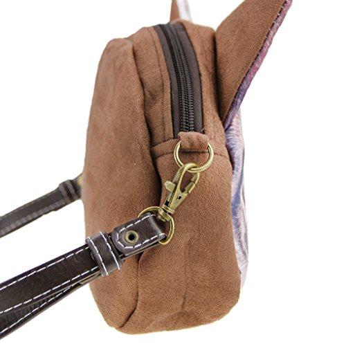 FakeFace Damen 3D Katzenkopf Schultertasche Crossbody Bag Henkeltasche Handtasche Damentasche Handytasche mit Katze Aufdruck für Wandern Außflug Shopping (Gelbe Augen) Runde Augen