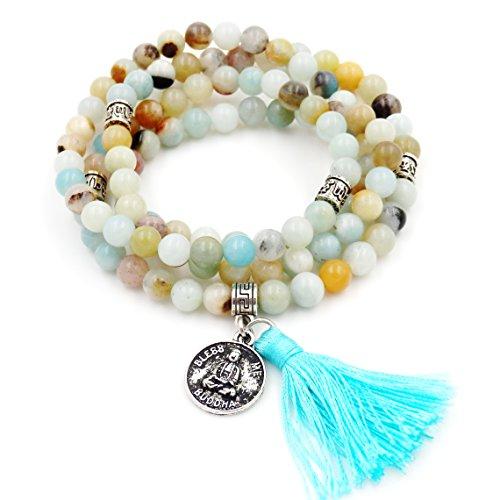 Perline mala braccialetto, rosario buddista, tassel braccialetto, buddha mi benedica collana (mix amazzonite)