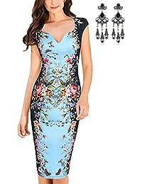 MODETREND Vestidos Para Mujeres Ajustado Estampado Floral Impresión Digital Vestido para Fiesta Bodas Cóctel
