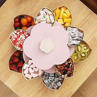 DEBBD Aufbewahrungsbehälter Servierplatte mit Fach für Trockenobst, Schmuck, Nüsse Süßigkeiten mit faulen Handyhalter