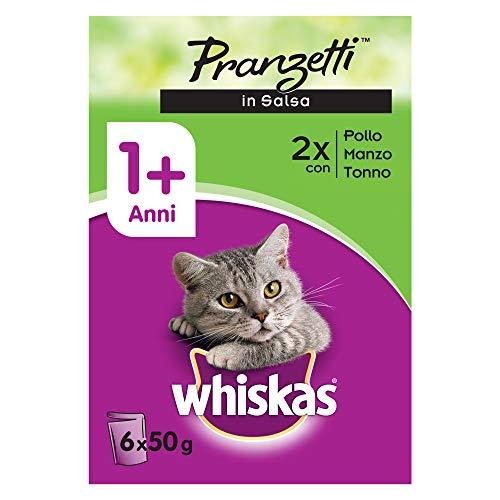 Whiskas Pranzetti in Salsa 1+ Anni 6 x 50 g, Cibo per Gatto con Pollo, Manzo e Tonno - 12 Confezioni