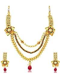 Sukkhi Sleek 3 String Gold Plated Bridal Necklace Set For Women