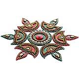 Beauty Shops Acrylic Diya Small Rangoli(Red And Green) - Pack Of 7