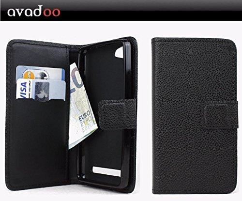 avadoo® Archos 45d Platinum Flip Case Cover Tasche Schwarz mit Magnetverschluss und Dualnaht als Cover Tasche Hülle