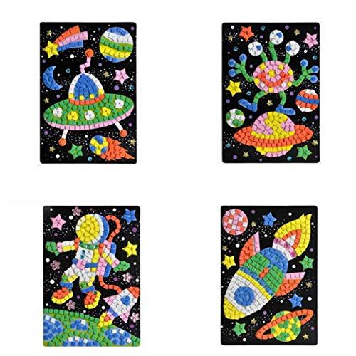 efsdhg Mosaik-Aufkleber-Kunst Sticky DIY handgemachte Kunst-Kits Puzzle Aufkleber pädagogisches Spielzeug-Blume, Flugzeug Muster für Kinder Kinder Geschenke -