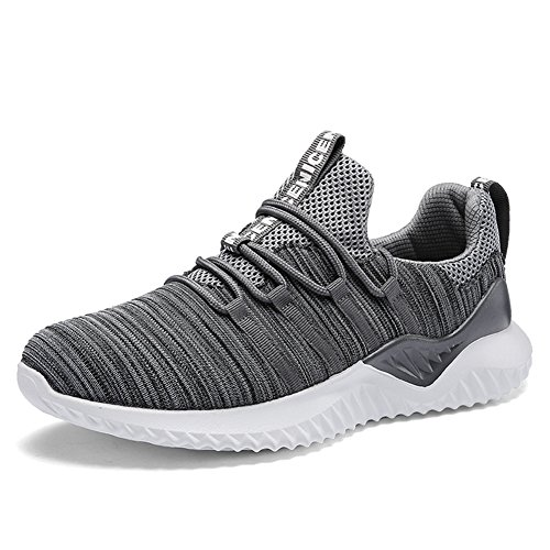 populalar Uomo Scarpe da Ginnastica Sportive Running Atletico Allacciare Sneakers Gray 43 EU