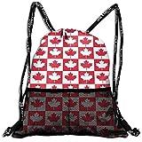 Hipiyoled Canada Flag Maple Leaf Durable Sport Drawstring Backpack for School Soccer Yoga