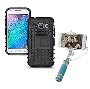 Aart Hard Dual Tough Military Grade Defender Series Bumper back case with Flip Kick Stand for Samsung J1 + Aux Wired Mini Pocket Selfie Stick by Aart store.