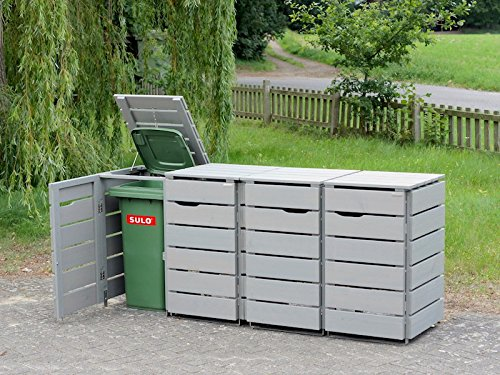 4er Mülltonnenbox / Mülltonnenverkleidung 120 L Holz, Transparent Geölt Grau