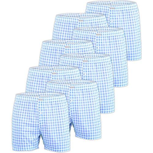 5 10 20 Pack Herren Gentleman Boxershorts Shorts Schwarz Karo-Blau BOX2-f5430 Farbe: BOX2(blu-kar)_10er Boxershorts Blue Kariert 10er Pack BOX2(blu), Gr. XXL (8) (Blu-neckholder)