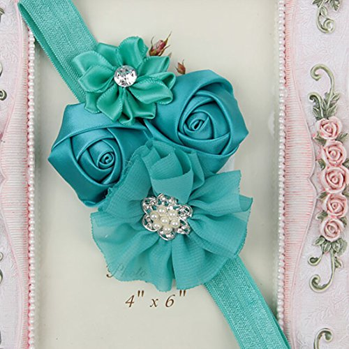 Baby Toddler Pearl Chiffon Rose Flower Headbands Hair Band Infant Fabric Cute Soft Accessories