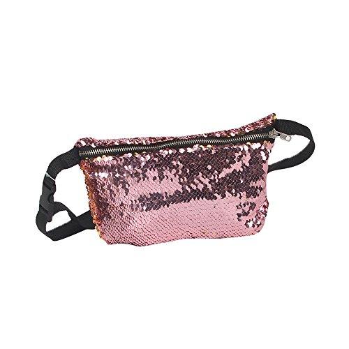 Nibesser Damen Gürteltasche Doppelte Farbe Pailletten Bauchtasche Geldbeutel Hüfttasche mit Reissverschluss für Sport und Outdoor Aktivitäten (Rot+Silber) Rosa+Gold