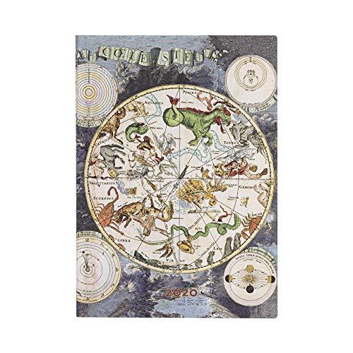 Paperblanks - Frühe Kartografie Himmlische Karte - Kalender 12 Monate 2020 Midi Wochenüberblick Horizontal - Softcover Einband Flexi deutschsprachige Ausgabe