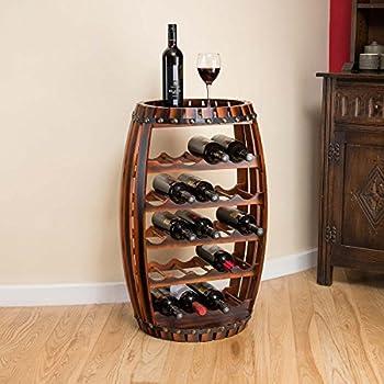 wood barrel furniture. Freestanding 23 Bottle Wooden Barrel Wine Rack Stand, Vintage Style Holder 78.5cm Wood Furniture I
