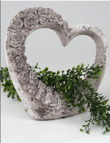 Moderne Gartendeko Herz rustikal grau 29 cm hoch aus Keramik von formano Figur Skulptur Kunstobjekt