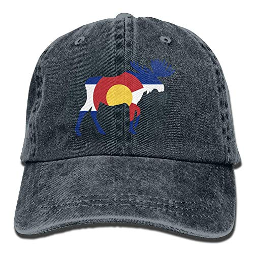 Hoswee Unisex Kappe/Baseballkappe, Adult Colorado Flag Deer Washed Denim Retro Cowboy Style Baseball Cap Sun Hat Trucker Hat Adjustable Dad Hats