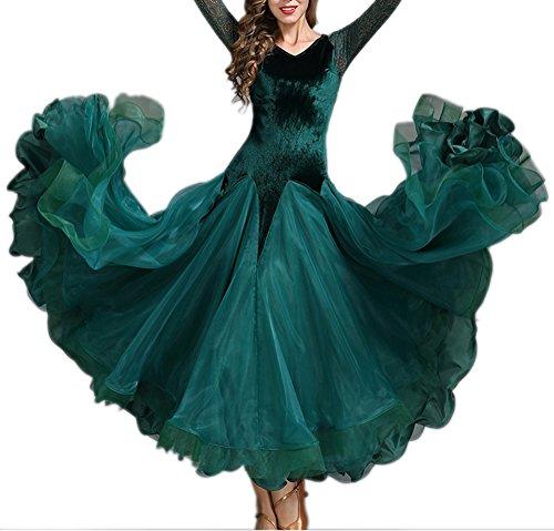 LCWORD Ballroom Dance Damen Performance Velvet Georgette Long Sleeves Naturkleid,Green,XXL