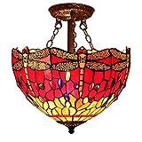 DSHBB Tiffany-Stil-Kronleuchter Ed Invertierte Deckenpendelleuchten Rote Libelle Ained Buntglas-Pendelleuchten , Bartheke , Esszimmer-Deko-Deckenleuchte