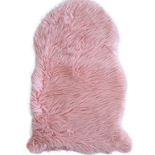 mynes Home Kunstfell Lammfell Schaffell Imitat in Grau, Weiß, Rosa, Rot, Hellgrau und Dunkelgrau in 2 verschiedenen Größen waschbar mit Öko-Tex (55 x 80 cm, Rosa) -