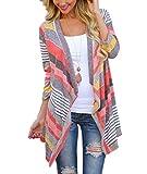 Yidarton Damen Strickjacke Langarmshirt Irregular Colorful Striped Baumwolle Kimono Cardigan Oberteil Mantel Cover up Outwear (Rot, S)