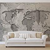 Weltkarte Beton Textur - Wallsticker Warehouse - Fototapete - Tapete - Fotomural - Mural Wandbild - (2819WM) - XXL - 312cm x 219cm - VLIES (EasyInstall) - 3 Pieces
