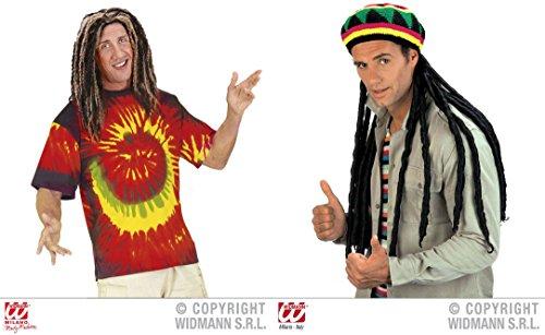RIBIK - ( T-Shirt 50/52 (M) + Mütze mit Rastalocken ) Kombinationen Kostümkombinationen Partyverkleidungen (Halloween-angebote)